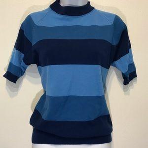 Vintage Blue Striped Sweater Short Sleeve Sz M